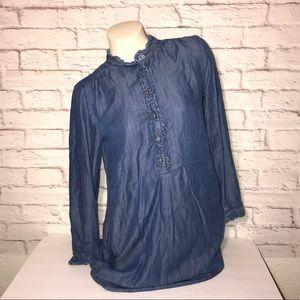 Ann Taylor LOFT Shirt Dress Denim Dark Chambray
